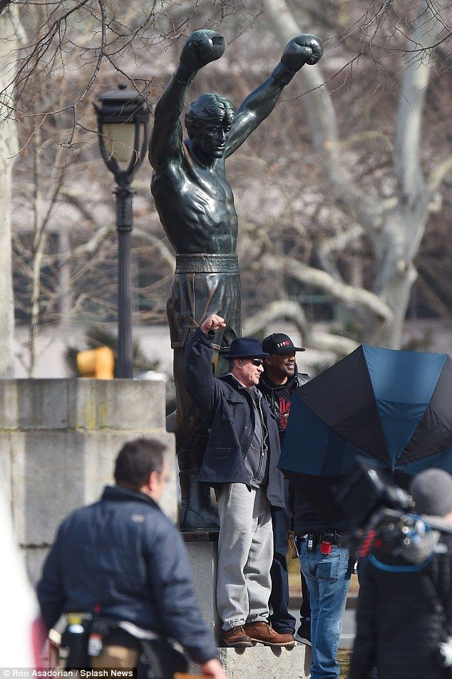 Sylvester Stallone re-creates pose at Rocky stairs and visits statue