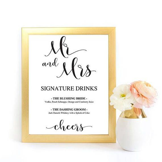 Signature Drinks Sign Drinks Sign Bar Sign Wedding