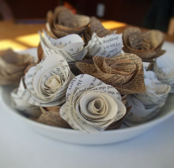 24 paper flowers made from vintage book by kristasewinspired 1200 24 large paper flowers made from vintage bible book pages mightylinksfo