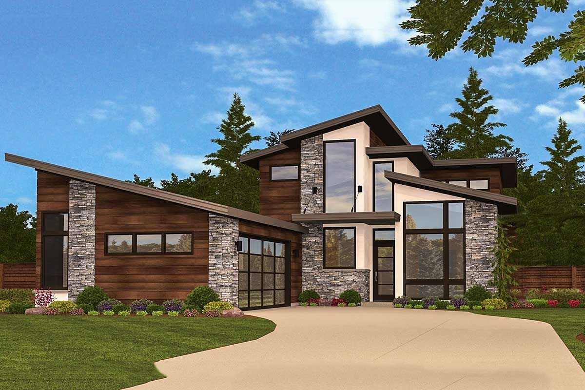 Slimmed Down Exclusive 3 Bed Modern House Plan is part of Modern house plans, Modern house plan, Modern house design, Architectural design house plans, Small house design, Small house design philippines -