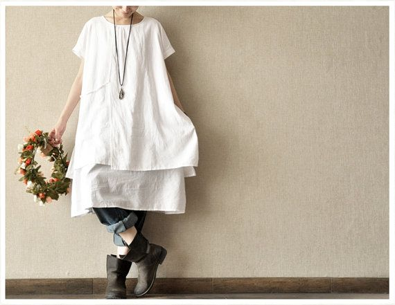 Summer White  Loose Cotton Leisure  women Cotton Long  dress