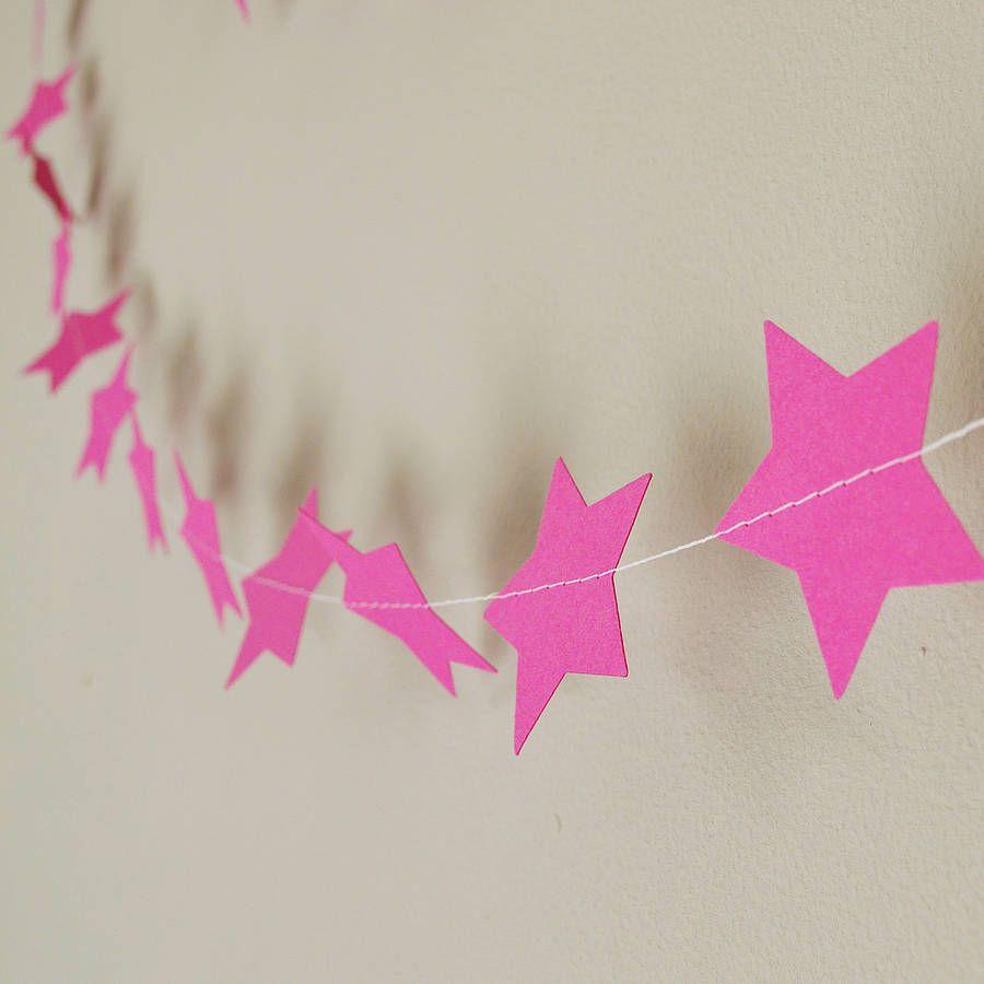 cerise stars paper garland by funky frills uk | notonthehighstreet.com