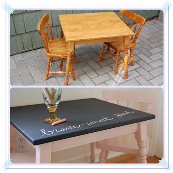 Antes y Después de una mesa y sillas infantiles | Pizarra para niños ...