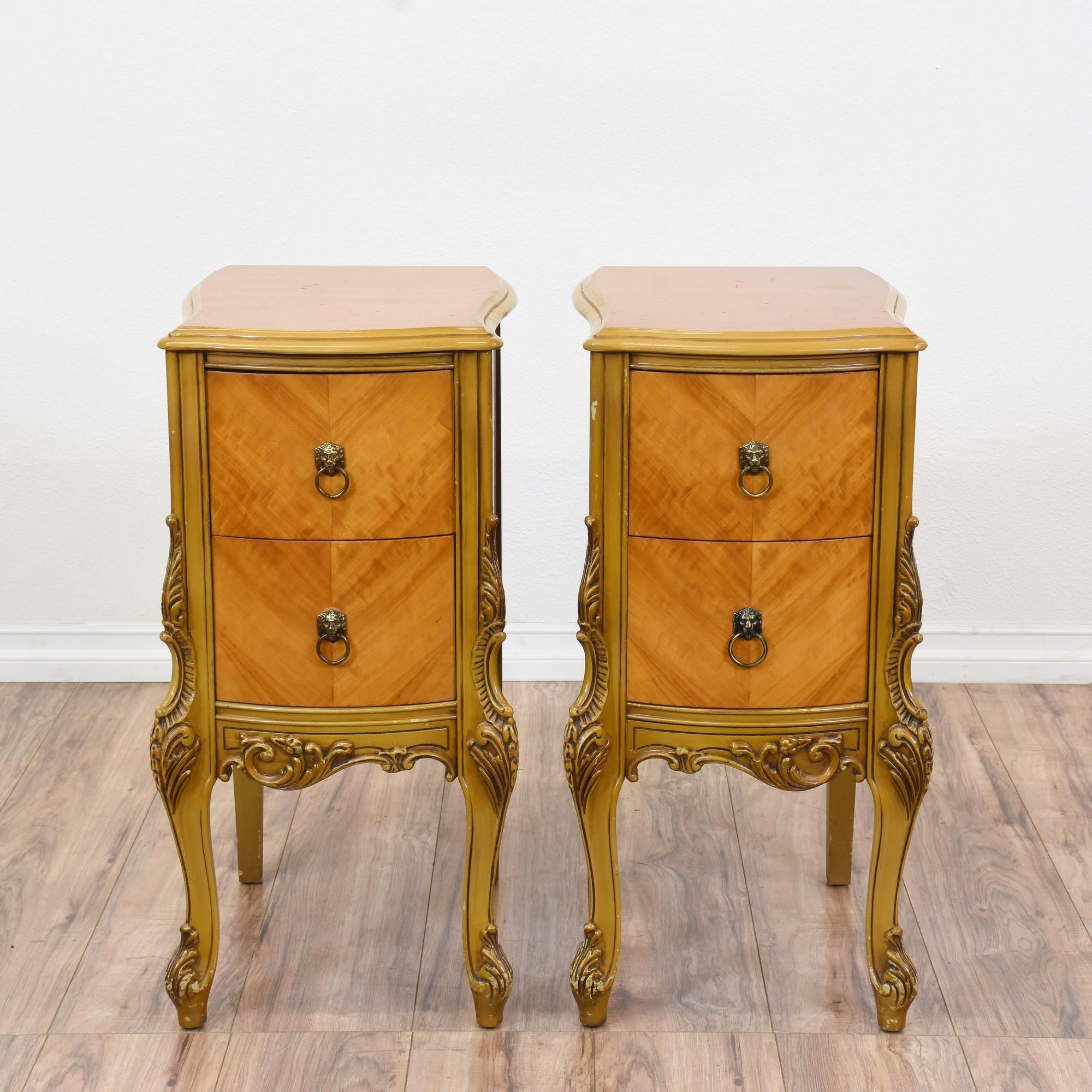 this pair of antique french provincial nightstands are featured in a solid wood with a gorgeous