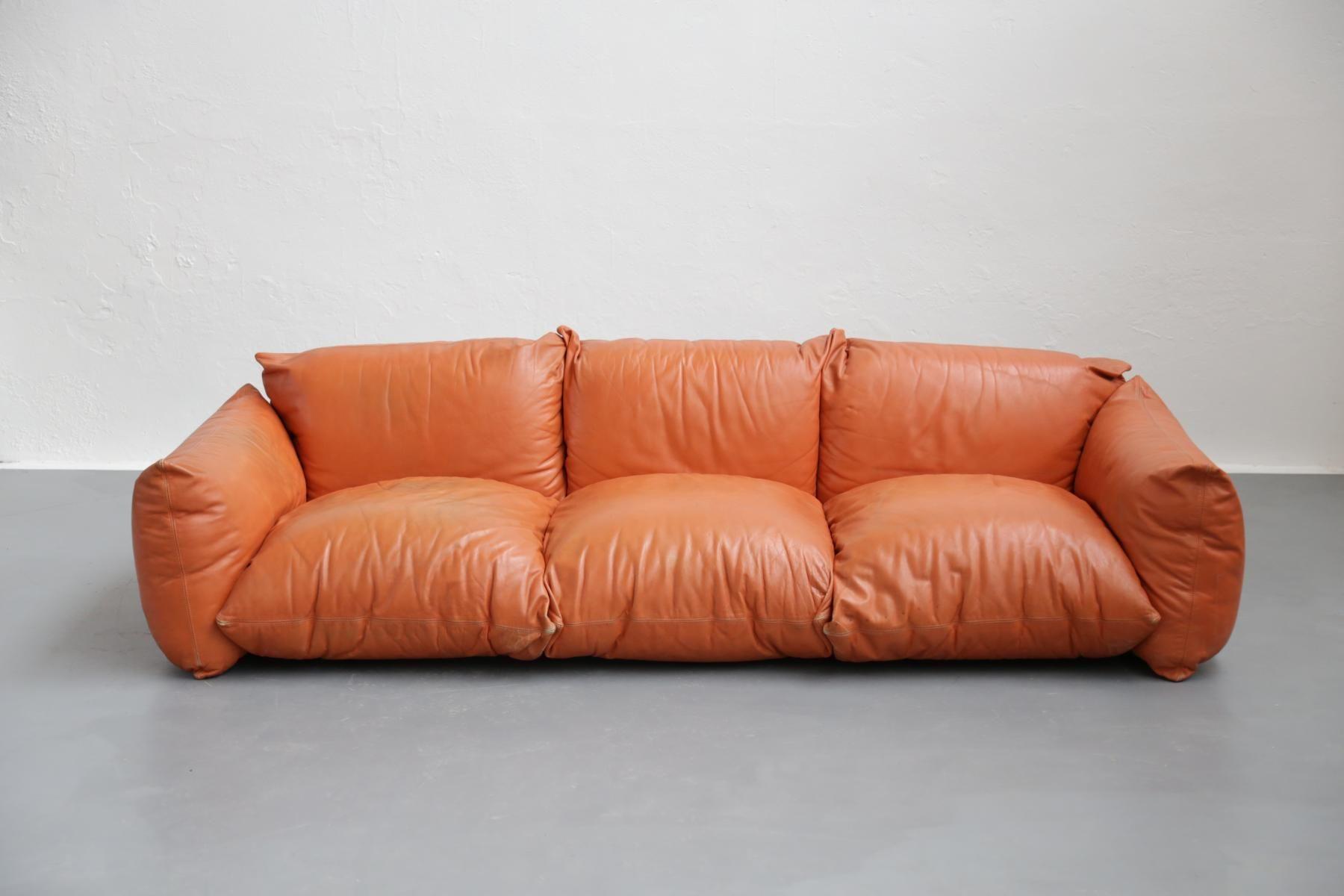 Italian Cognac Leather Sofa 1960s 3 Italian Leather Sofa