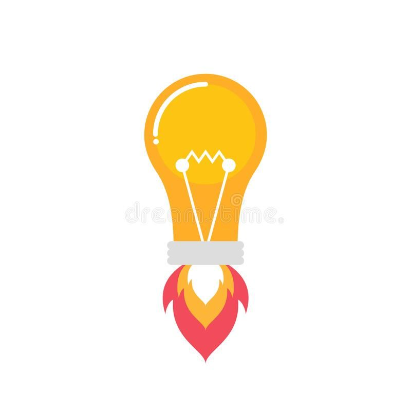 Lightbulb Rocket Icon Light Bulb Launching As A Symbol Of An Idea Creative Ide Sponsored Sponsored Graphic Art Prints Product Launch Vector Illustration