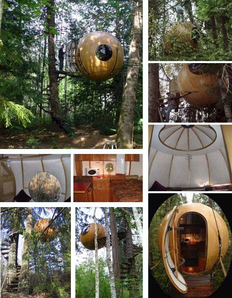 The mobile, durable and somehow fanciful Free Spirit Spheres can be hung from anything from trees to buildings and rock faces. Webbing and ropes literally and metaphorically anchor these spheres to their locations. Just four anchor points are needed to carry the entire weight of the spheres.