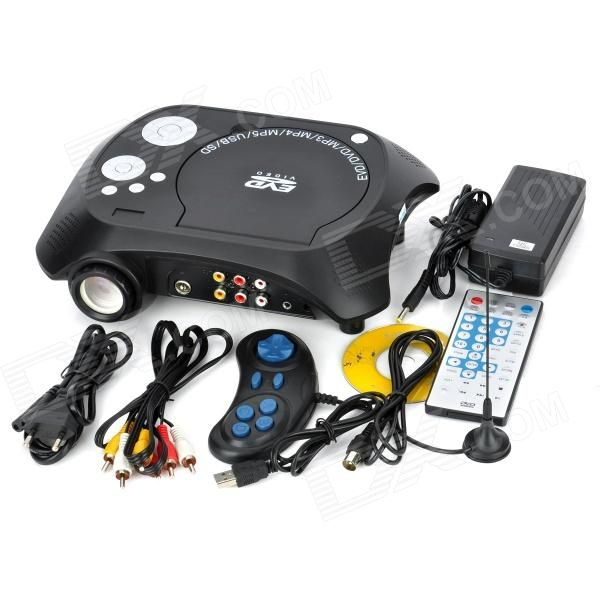 TS-3680 Portable DVD Home Theater Projector w/ SD / Speaker - Black + Silver From 179,- for Euro 131,40