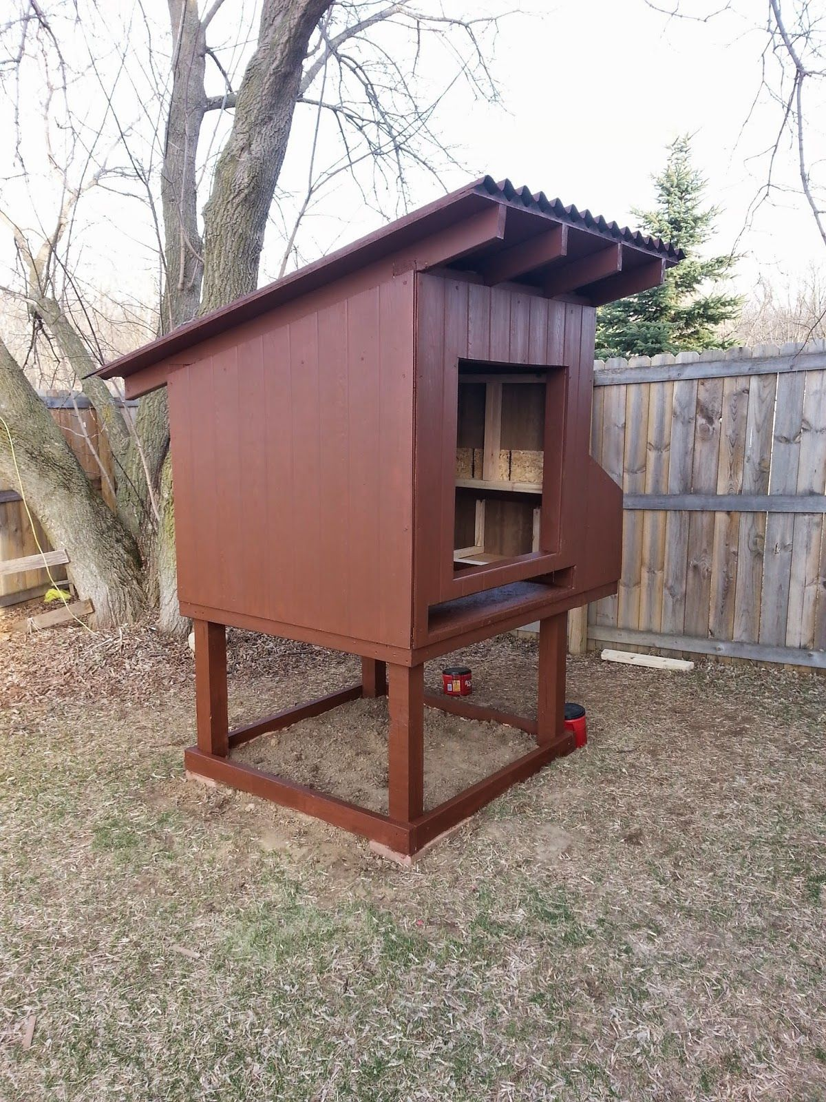 Backyard raised chicken coop with built-in floor tray for ...