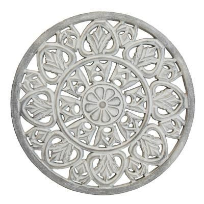 Arthouse White Washed Wooden Medallion Wall Art Medallion Wall Decor Metal Flower Wall Decor Antler Wall Decor