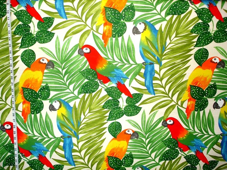 Parrot fabric tropical jungle bright from brick house for Childrens jungle print fabric