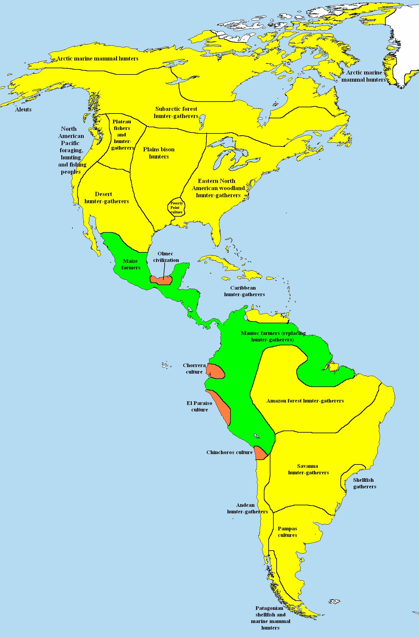 Americas 1000 Bce Map Of Subsistence Methods Yellow Hunter
