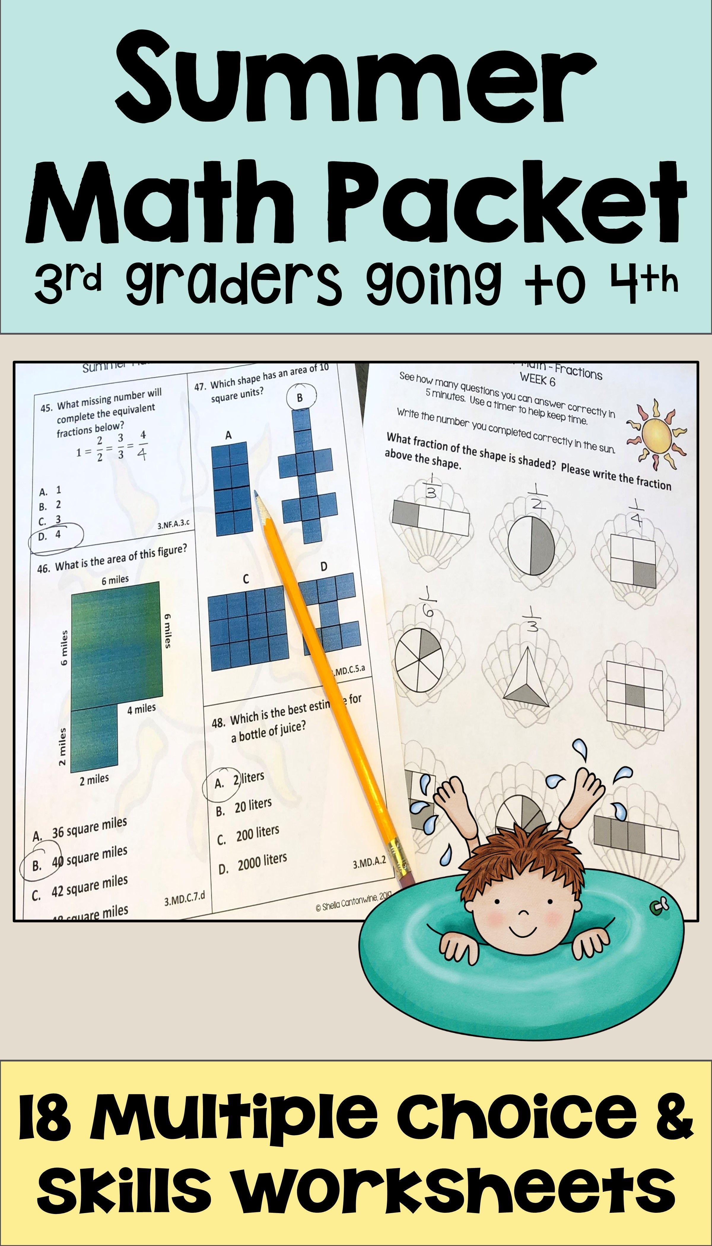 Summer Math Packet for Rising 4th Graders - Review of 3rd Grade Math    Summer math [ 4200 x 2400 Pixel ]