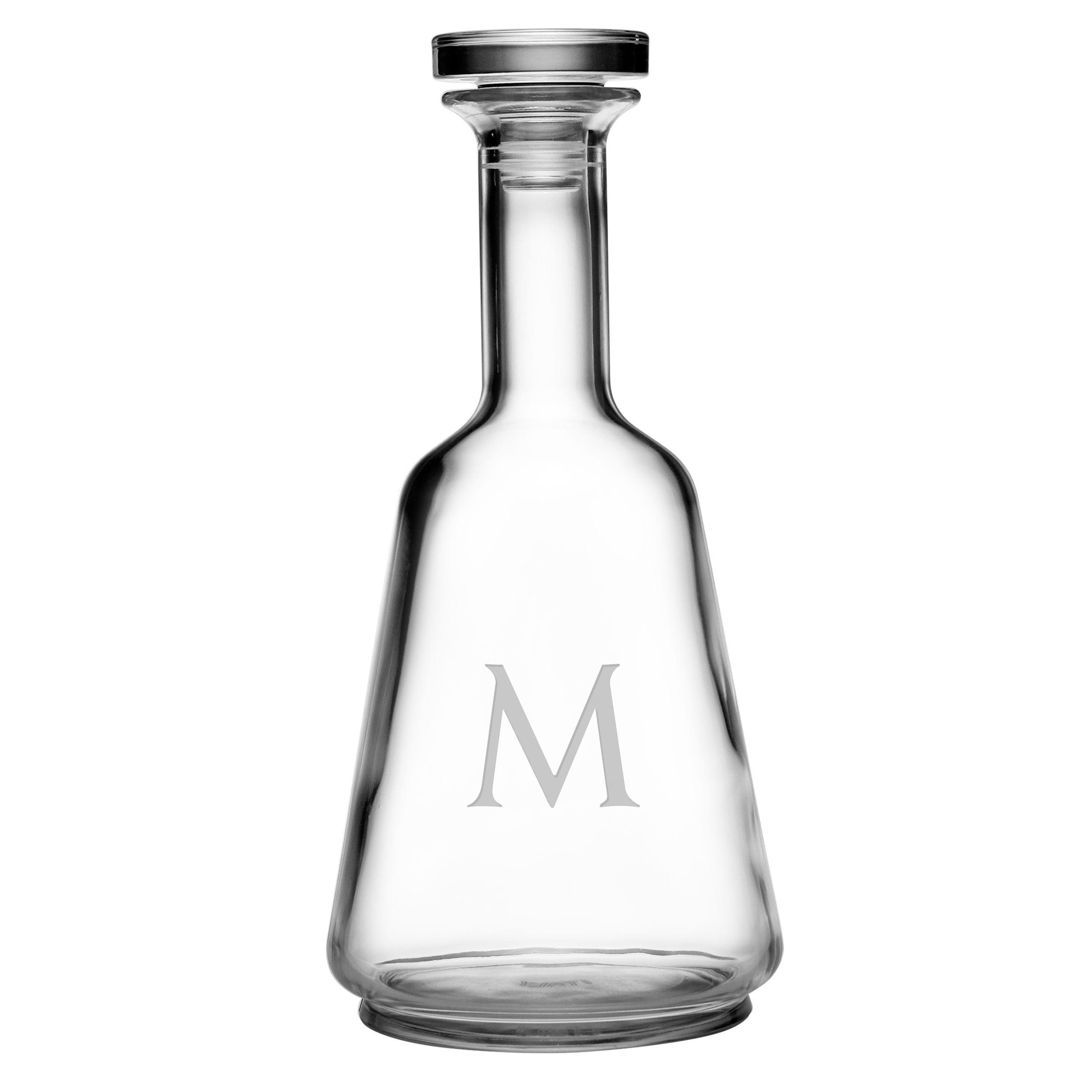 Personalized Luigi Bormioli Atelier-Prestige Decanter (Block Monogram K), Clear (Glass)
