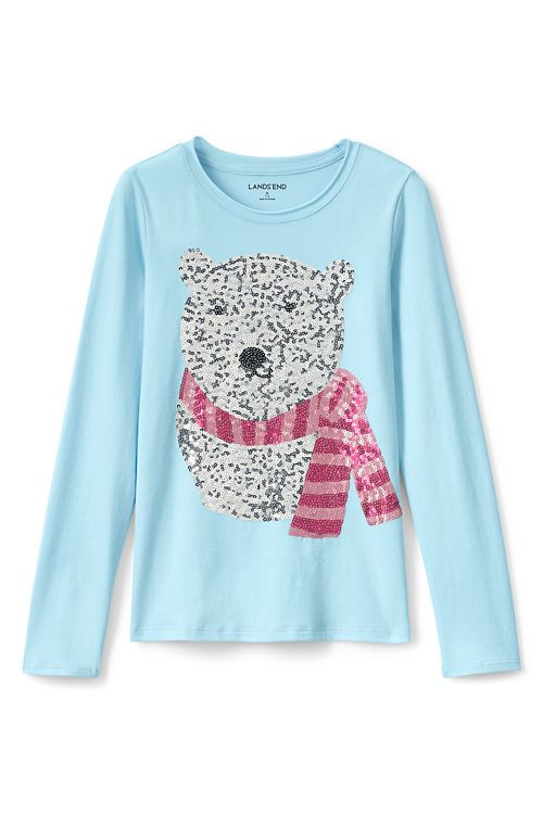 48b8cb43caf Girls Holiday Embellished Roll Neck Graphic Tee from Lands  End ...