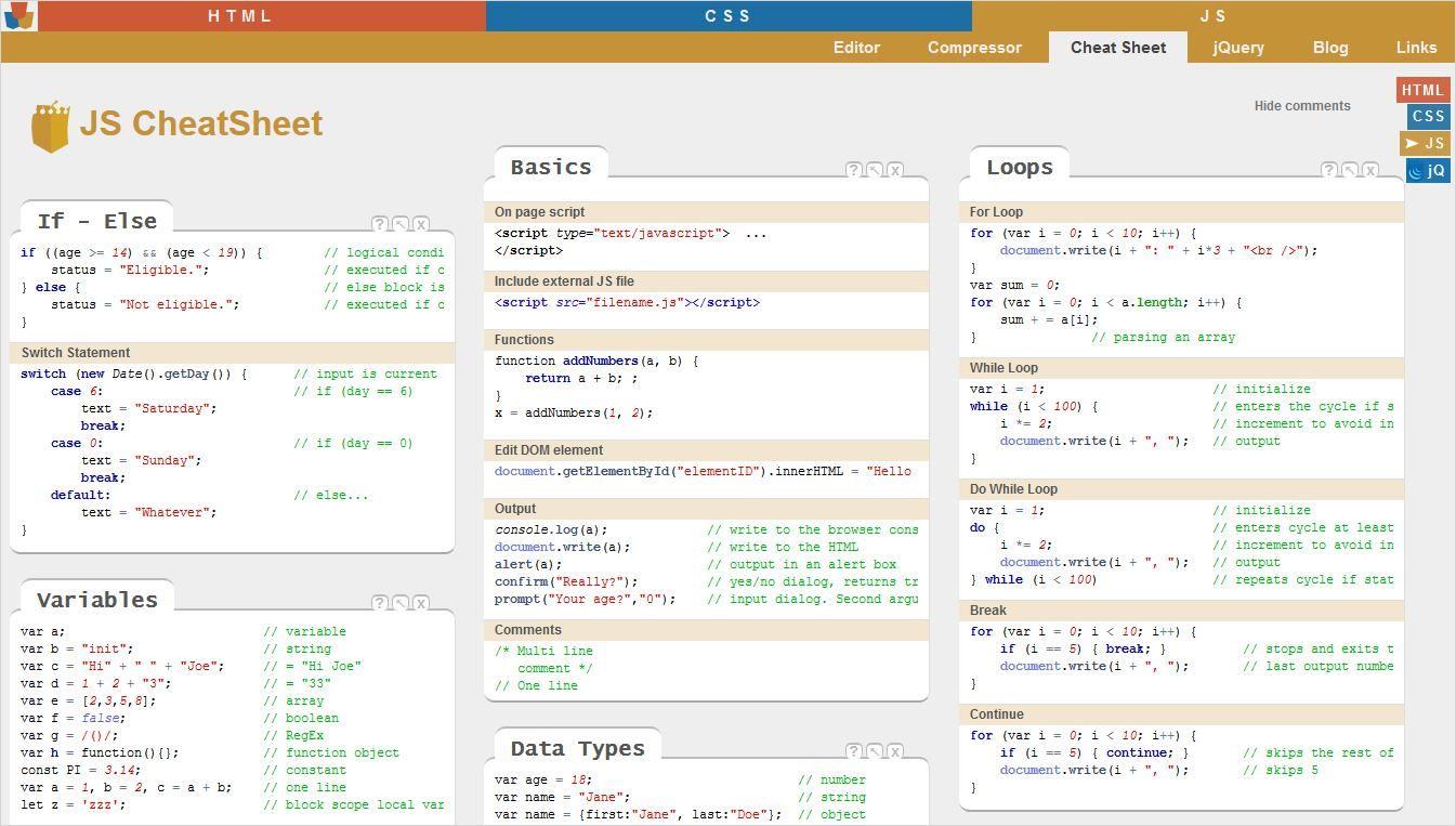 The Ultimate Stack of JavaScript cheatsheet for Design