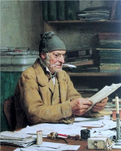 Albert Anker (Swiss: 1831-1910) - Der Gemeindeschreiber - 1874