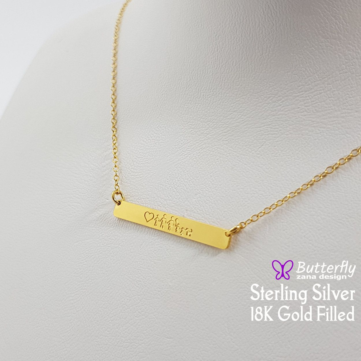 Gift for Her Sterling silver initial pendant Vertical bar Personalized Folk Bar Tag Necklace Small multiple Custom Tags bar