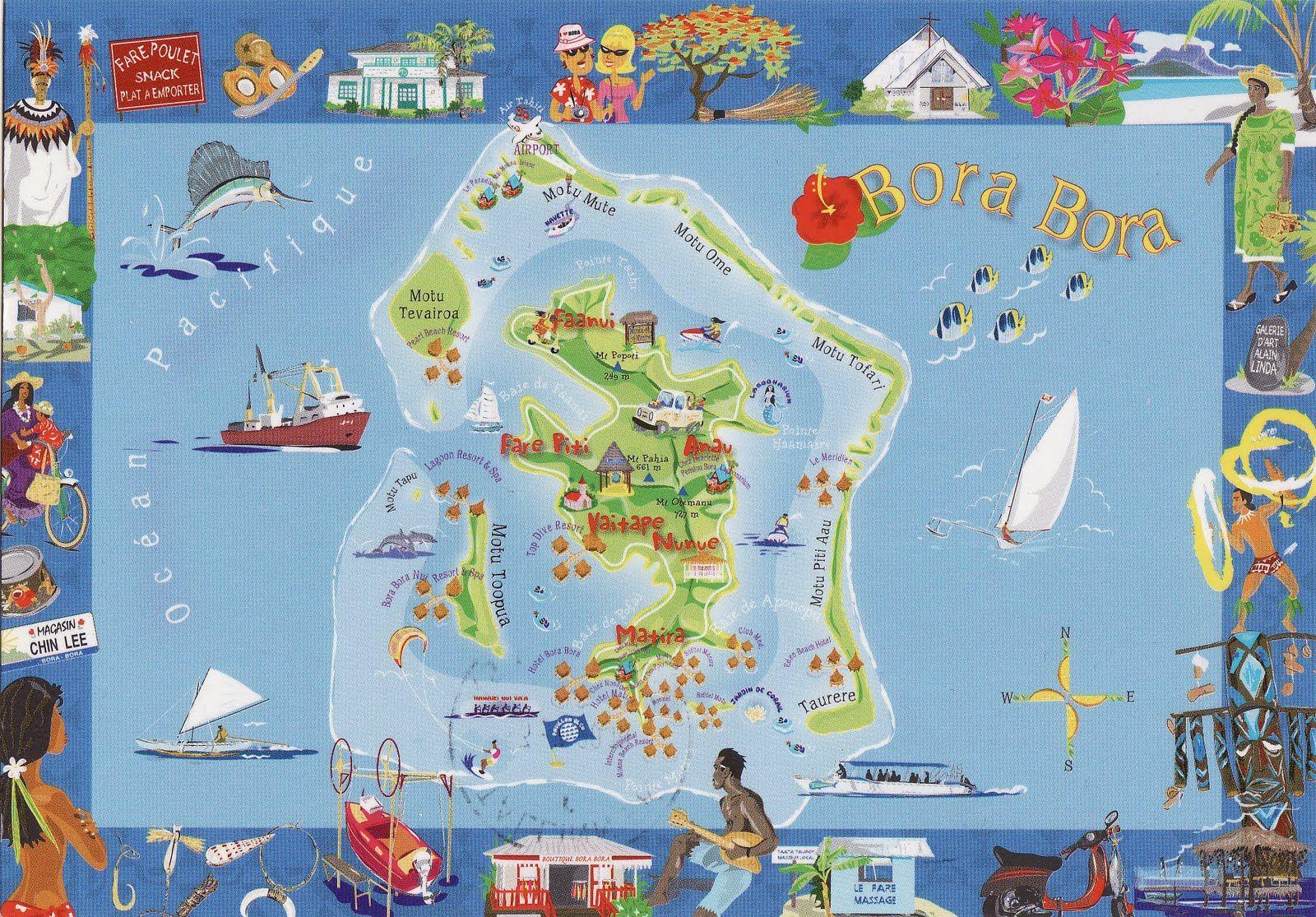 Bora bora island map maps pinterest bora bora island bora french polynesia bora bora map of the island gumiabroncs Image collections