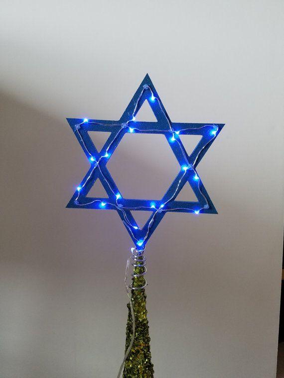 Light Up Star Of David Tree Topper For Christmas Hanukkah Home