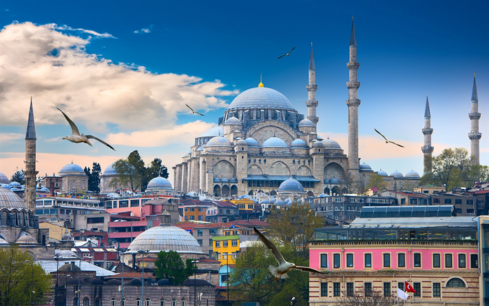 Download wallpapers The Blue Mosque, Sultan Ahmed Mosque, minarets, islam, landmark, Turkish mosque, flag of Turkey, Istanbul, Turkey besthqwallpapers.com | Turkey tourism, Mosque, Blue mosque