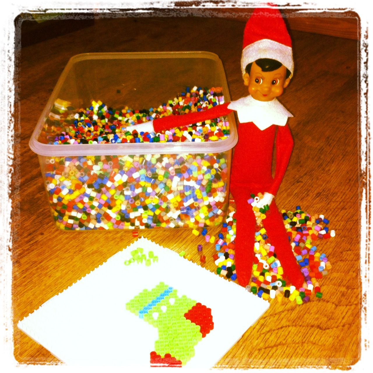 Elf on the shelf, 11.12.12 Evan Tom. Hama beading a Xmas stocking!