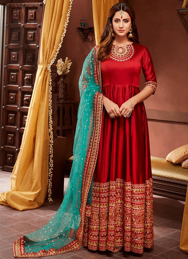 Red and Gold Embroidered Silk Anarkali– Lashkaraa ...