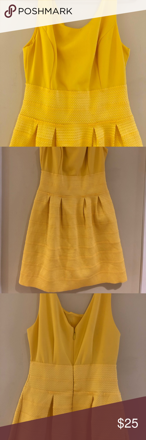 Yellow High Waisted Dress Two Textures Make Up This Wonderful Sunflower Yellow Dress The Top Is Stretchy And Flexible High Waist Dress Clothes Design Dresses [ 1740 x 580 Pixel ]