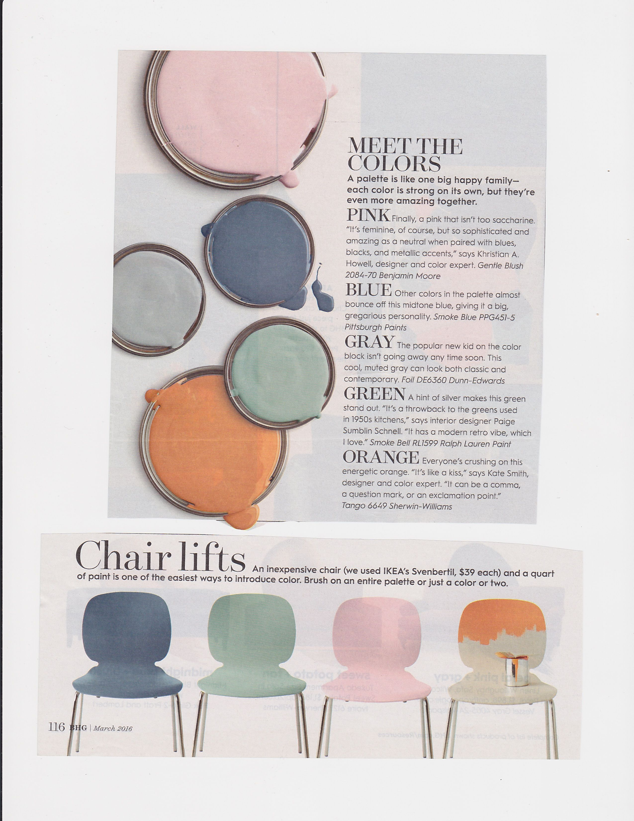 Bhg March 2016  Ikea Svenbertil Chairs Painted