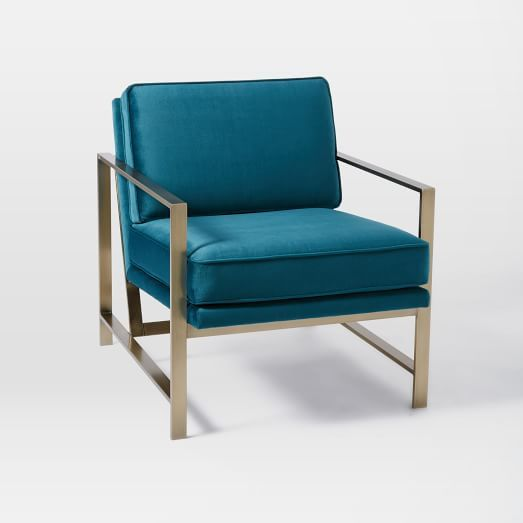 MASTER BEDROOM CHAIRS IN FRONT OF WINDOW - 2 - IT'S ON SALE AND IN TEAL!!!! Metal Frame Upholstered Chair   west elm