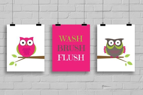Owl Bathroom Prints - Wash, Flush, Brush Prints - Kids Bathroom Decor - Bathroom Decor - Owl Bathroo Owl Bathroom Prints - Wash, Flush, Brush Prints - Kids Bathroom Decor - Bathroom Decor - Owl Bathroo Bathroom Decoration owl bathroom decor