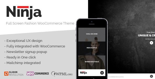 Ninja - Full Screen Fashion WooCommerce Theme (WordPress, eCommerce ...