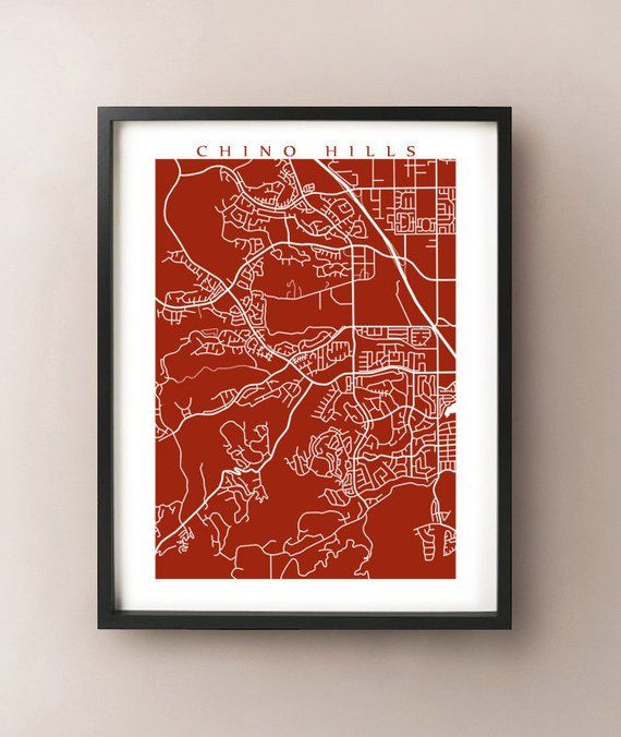 Chino Hills Map Print - California Poster   Products   Chino hills on