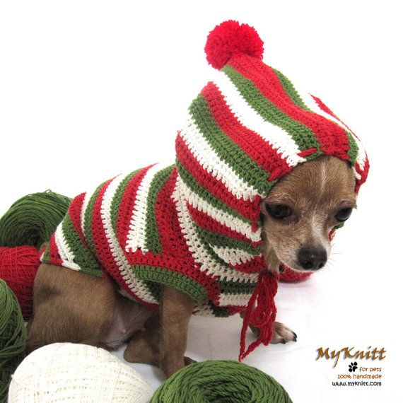 Christmas Gifts Dogs Hoodie Sweater Dog Clothes Pets By Myknitt 30 00 Christmas Gifts Dogcostu Pet Clothes Dog Christmas Gifts Dog Sweater Crochet Pattern
