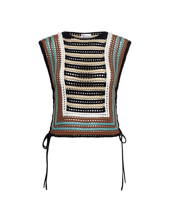 Red Valentino: Crochet Striped Cropped Knit Top (item detail - 1 ...
