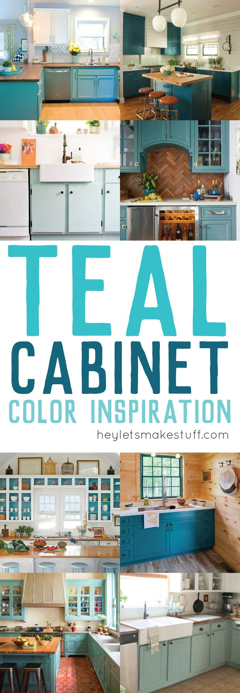 Teal Cabinet Paint Color Inspiration | Teal kitchen, Kitchen paint ...