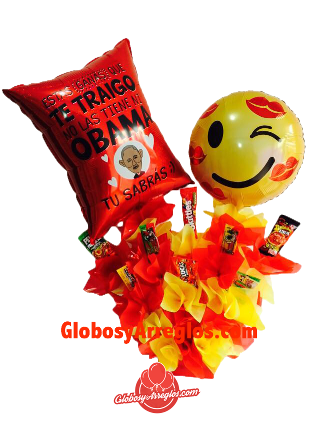 Si quieres desmostarle amor a esa persona especial no hay nada más efectivo que un regalo de globos lleno de muchos dulces. Si quieres darle una sorpresa a tu enamorado(a) este es el regalo perfecto y estamos seguros que ese detalle nunca lo olvidara.  Este servicio está disponible en Monterrey Nuevo León.  Contiene:   (1) Moño hecho a mano  (1) Base para arreglo  (2) Globo de 18 Pulgadas (El modelo varía de acuerdo a disponibilidad)  (1) Tarjeta  (1) PelonPeloRico  (1) Pulparindo  (2)…