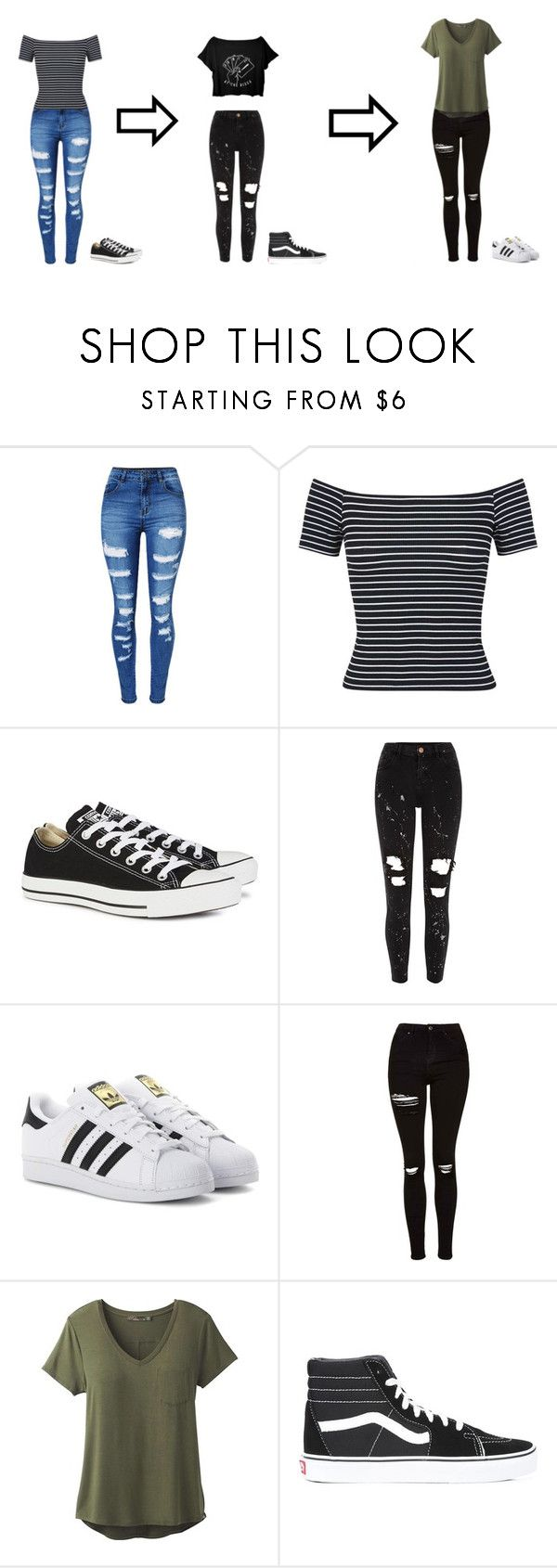 """""""Ripped jeans"""" by diamonds-ruby on Polyvore featuring WithChic, Miss Selfridge, Converse, River Island, adidas Originals, Topshop, prAna and Vans"""