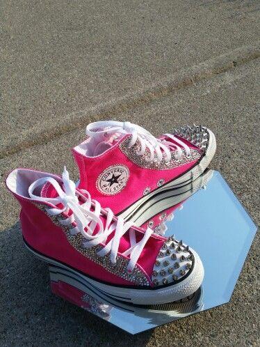 Hot Pink Converse  BLING AND Spikes  Glamorousglambosses@gmail.com
