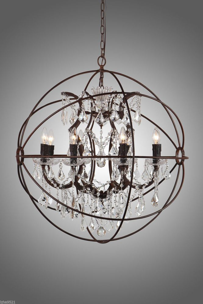 Image result for wooden and crystal orbe globe chandelier grande rustic iron crystal orb chandelier a foucaults globe style pendant lamp new aloadofball Image collections