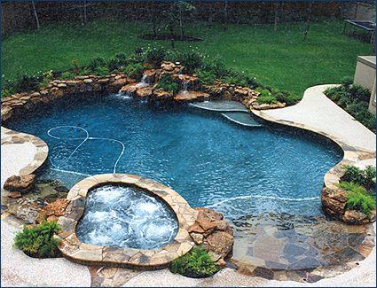 Dual Beach Zero Entry Pool With Spa Backyard Pool Small Backyard Pools Small Pool Design