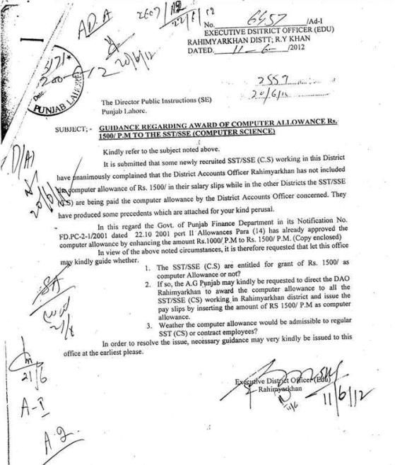 Computer Allowance for the teachers of Punjab Education SSE
