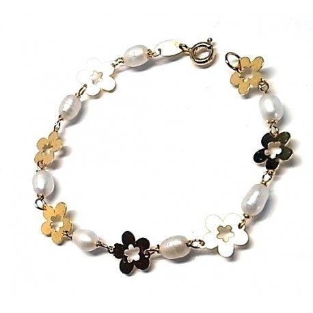 6b08e2d74e03 Pulsera de plata de primera ley infantil de comunión chapada en oro  amarillo con flores y perlas