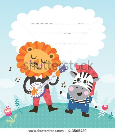 Greeting card template with a cute little zebra and lion - stock - greeting card template