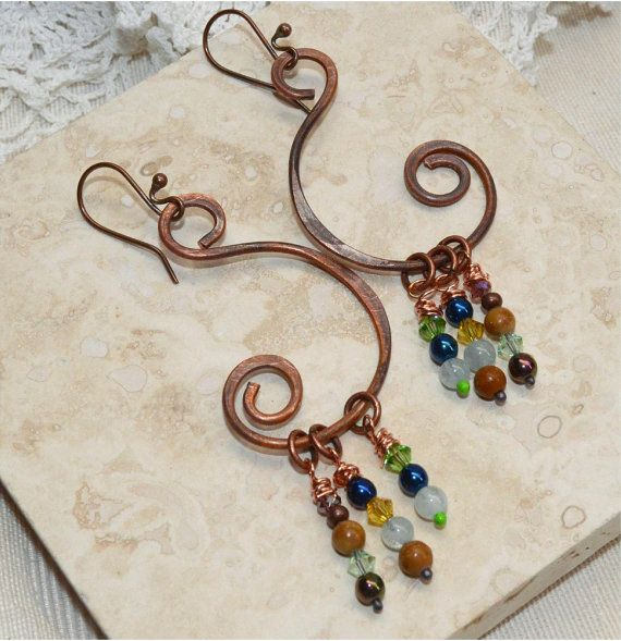 Wire Wrapped Copper Earrings with Gemstones by SunStones on Etsy ...