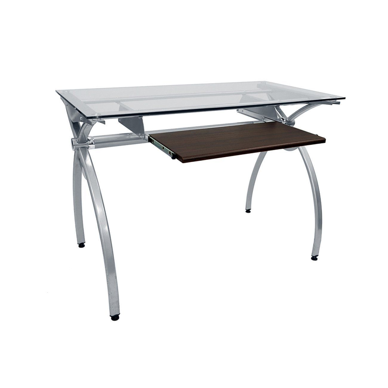Techni Mobili Contempo Clear Glass Top Computer Desk With Pull Out Keyboard Panel Clear C Top Computer Glass Desk Office Glass Office Desk Modern