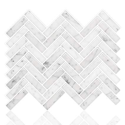 Amazon Com Stickgoo Premium Anti Mold Peel And Stick Tile Backsplash Sky Marble Herringbone Adhesive Stick On Tiles Stick Tile Backsplash Peel And Stick Tile