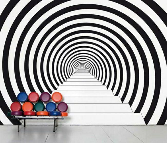 Elegant Effet Années 60 Psychadélique Toile Murale, Déco Papier Peint, Tapisserie,  Revêtement Mural,