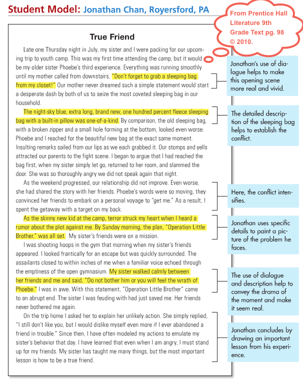 Narrative Writing Example Google Search Essay Help College Examples Dialogue