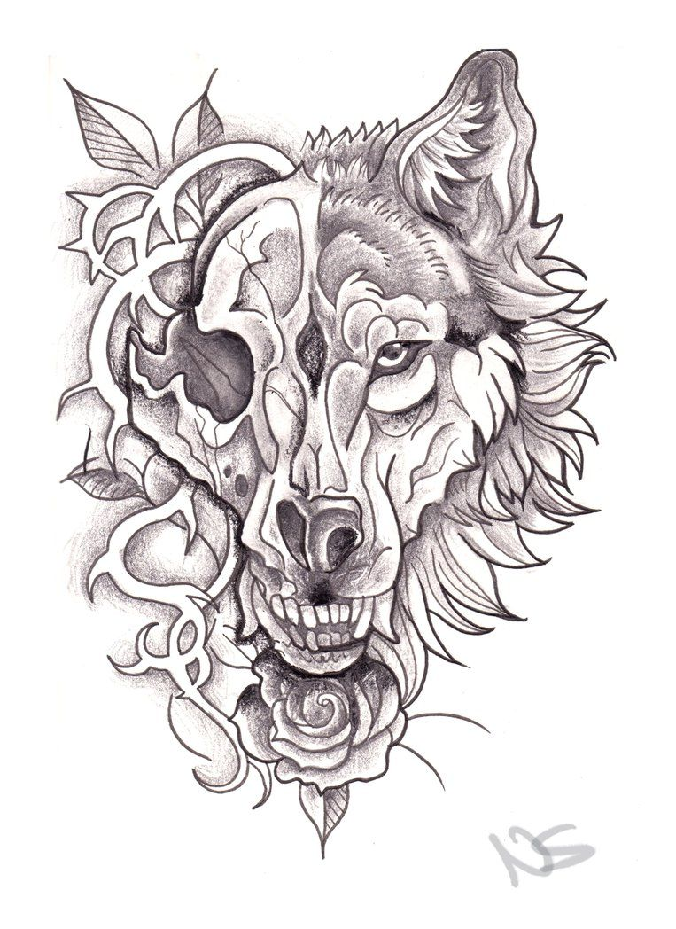 Neo Traditional Wolf And Skull Tattoo Skull Art Tattoo Werewolf Tattoo Tattoo Sketches